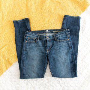 7FAM •Dark Wash Straight Leg Mid Rise Jeans